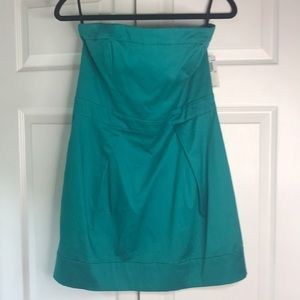 NWT French Connection teal mini strapless dress